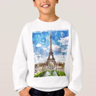 Watercolor Cityscape Paris, Eiffel Toward Sweatshirt