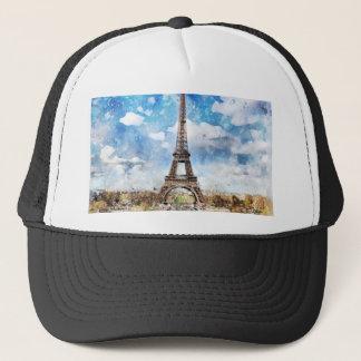 Watercolor Cityscape Paris, Eiffel Toward Trucker Hat
