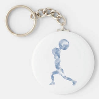 Watercolor Clean & Jerk in Blue Basic Round Button Key Ring