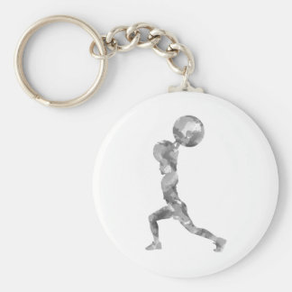 Watercolor Clean & Jerk in Grey Basic Round Button Key Ring
