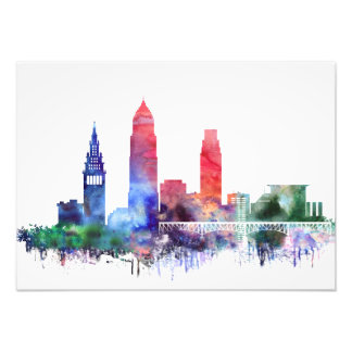 Watercolor Cleveland skyline Photo Print