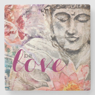 Watercolor Colorful Buddha Be Love Stone Coaster