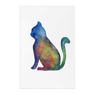 Watercolor Colorful Cat Acrylic Wall Art