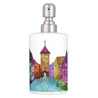 Watercolor colorful european town illustration bathroom set