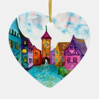 Watercolor colorful european town illustration ceramic heart decoration