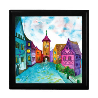 Watercolor colorful european town illustration large square gift box