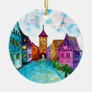 Watercolor colorful european town illustration round ceramic decoration