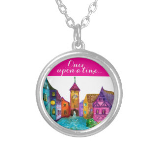 Watercolor colorful european town illustration silver plated necklace