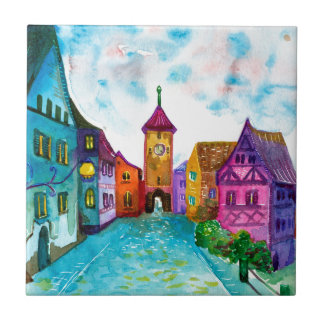 Watercolor colorful european town illustration small square tile
