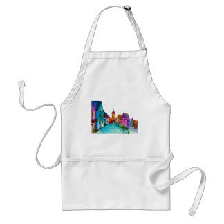 Watercolor colorful european town illustration standard apron