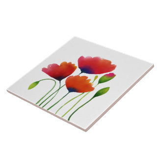 Watercolor Colorful Poppies Design Tile