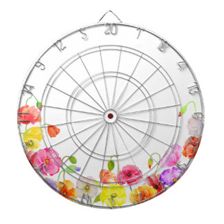 Watercolor Colorful Poppies flowers Dartboard With Darts