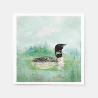 Watercolor Common Loon Bird Nature Art Disposable Serviette