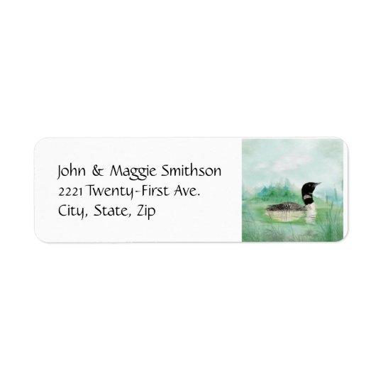 Watercolor Common Loon Bird Nature Art Return Address Label