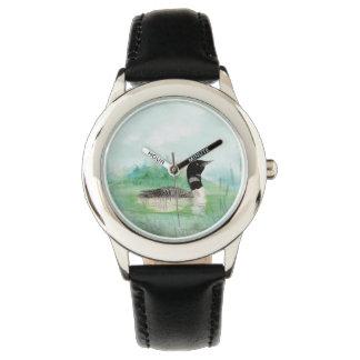 Watercolor Common Loon Bird Nature Art Watch