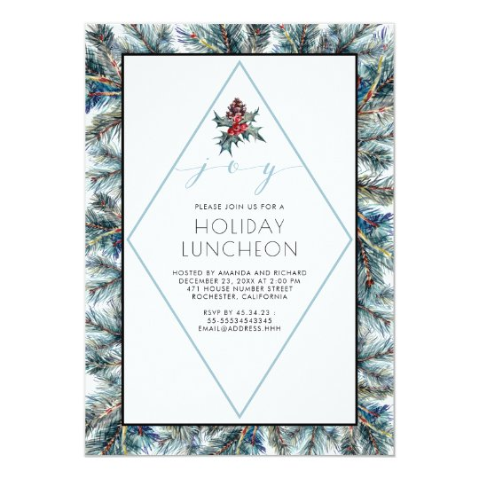 Watercolor Conifier and Pinecones Holiday Luncheon Card