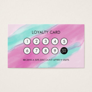 Watercolor Cool Elegant Loyalty Discount Business Card