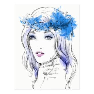 Watercolor cool fashion hand drawn illustration postcard