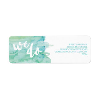 Watercolor Cool Romance Wedding Return Address Label