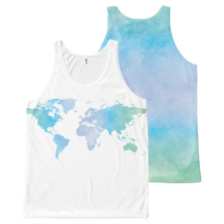 Watercolor Cool World Map All-Over Print Tank Top