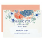 Watercolor coral blue romantic floral Thank You Card