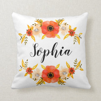 Watercolor Coral Floral Wreath Custom Name Cushion