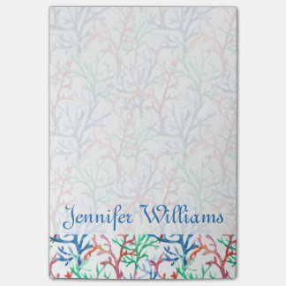 Watercolor Coral Pattern   Add Your Name Post-it® Notes