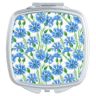 Watercolor cornflower pattern compact mirror