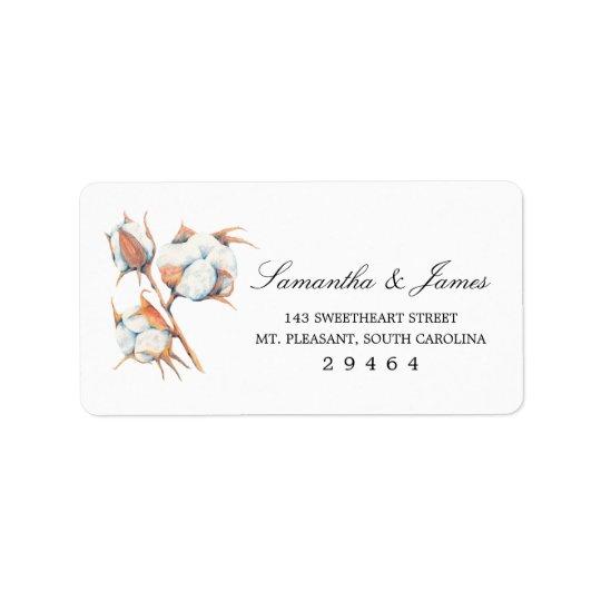 Watercolor Cotton Plant    Medium Address Label