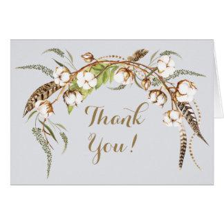 Watercolor Cotton Wreath Feather Wedding Thank You Card