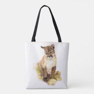 Watercolor Cougar Puma Cub Animal Nature art Tote Bag