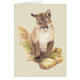Watercolor Cougar Puma, Mountain Lion Blank Card