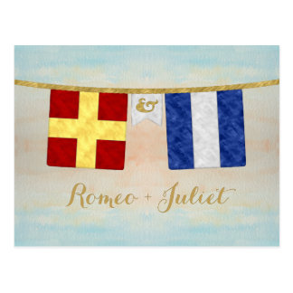 Watercolor Couples Monogram Maritime Signal Flags Postcard