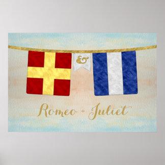 Watercolor Couples Monogram Maritime Signal Flags Poster