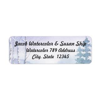 Watercolor Couple's Name Winter scene Return Address Label