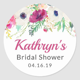 Watercolor Cream Purple Flowers Bridal Shower Classic Round Sticker