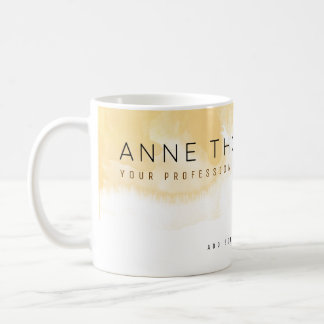watercolor cream & white professional coffee mug
