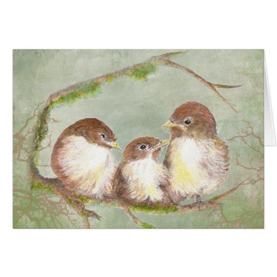 Watercolor Cuddling Sparrow Bird Family Card