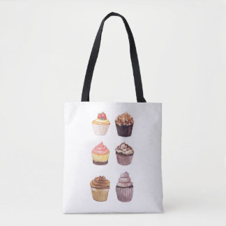 Watercolor Cupcake Illustrations Tote Bag