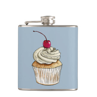 Watercolor Cupcake with Whipped Cream and Cherry Hip Flask