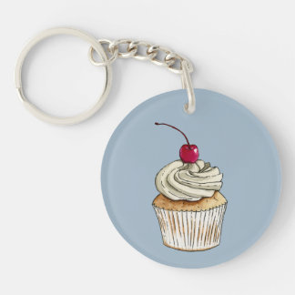 Watercolor Cupcake with Whipped Cream and Cherry Key Ring