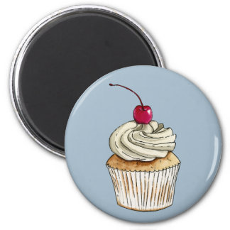 Watercolor Cupcake with Whipped Cream and Cherry Magnet