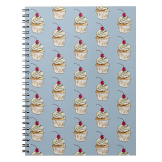 Watercolor Cupcake with Whipped Cream and Cherry Notebook
