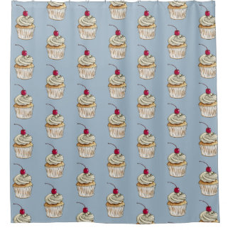 Watercolor Cupcake with Whipped Cream and Cherry Shower Curtain
