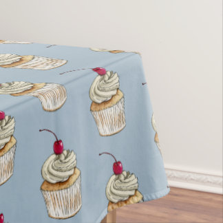 Watercolor Cupcake with Whipped Cream and Cherry Tablecloth
