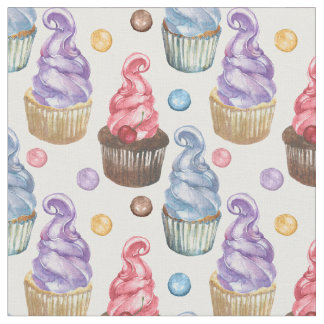 Watercolor cupcakes colorful fabric
