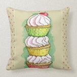 Watercolor cupcakes. Kitchen illustration. Cushions