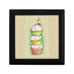 Watercolor cupcakes. Kitchen illustration. Trinket Box
