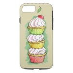 Watercolor cupcakes. Kitchen illustration. iPhone 7 Case