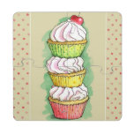 Watercolor cupcakes. Kitchen illustration. Puzzle Coaster